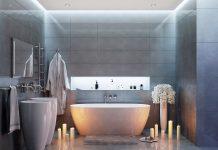 Eclairage ruban LED dans niche de salle de bains